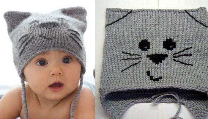 Связать шапочку для новорожднного мальчика зимнюю