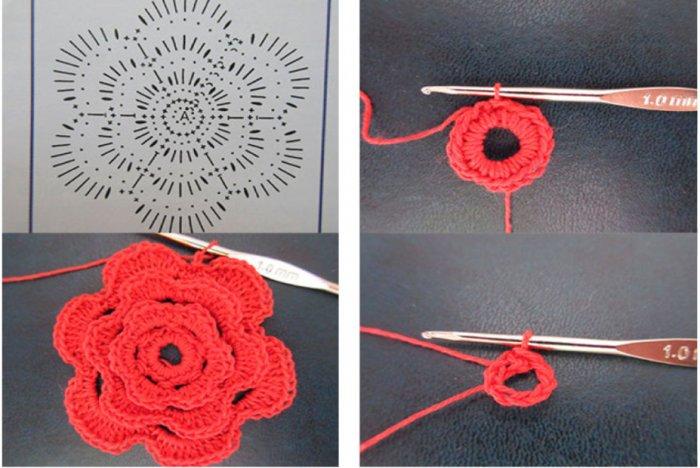 Схема вязания простого цветочка