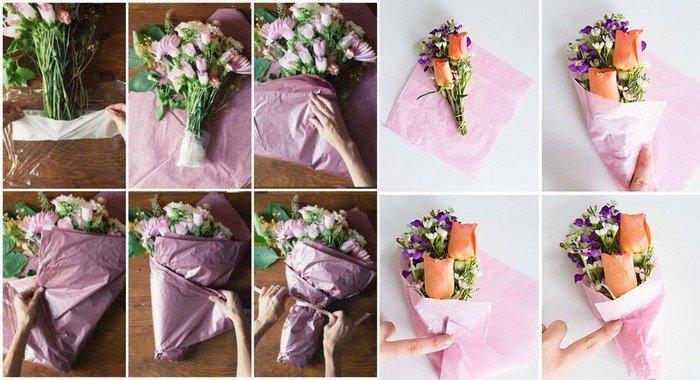Упаковать цветы в пленку