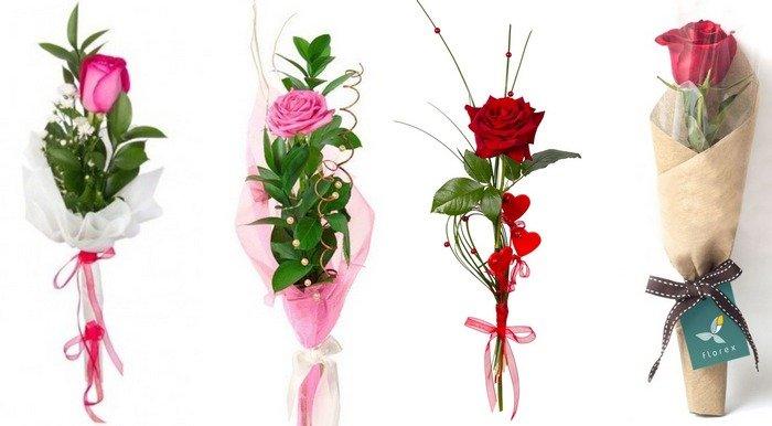 Упаковка одной розы