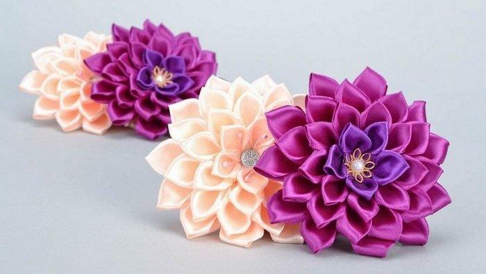 Схемы цветов из атласных лент