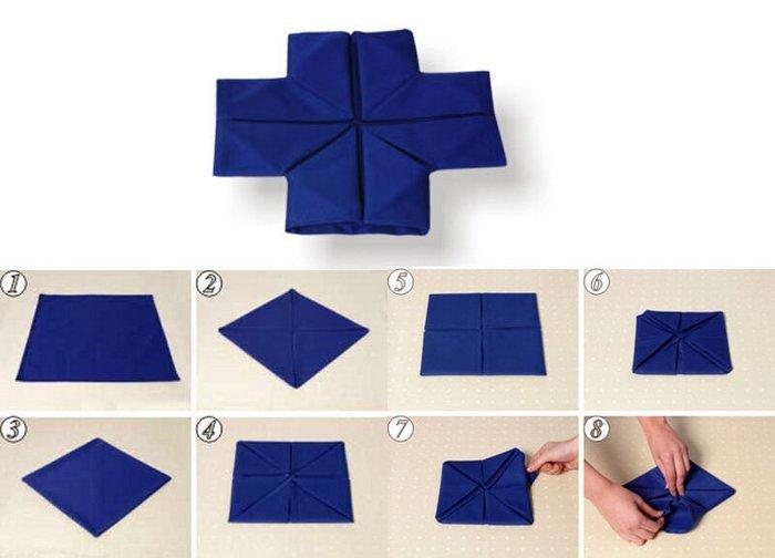 Схемы складывания тканевых салфеток