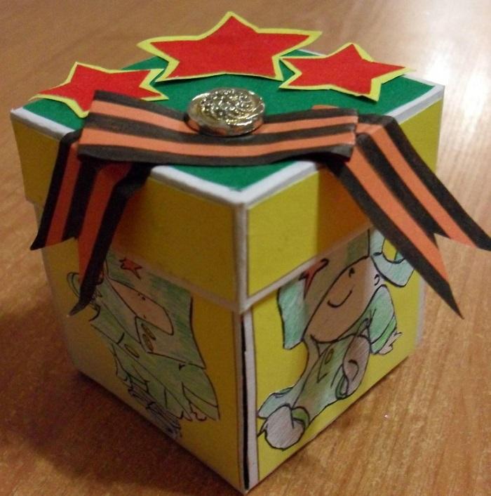 Коробочка для подарков на 23 февраля своими руками